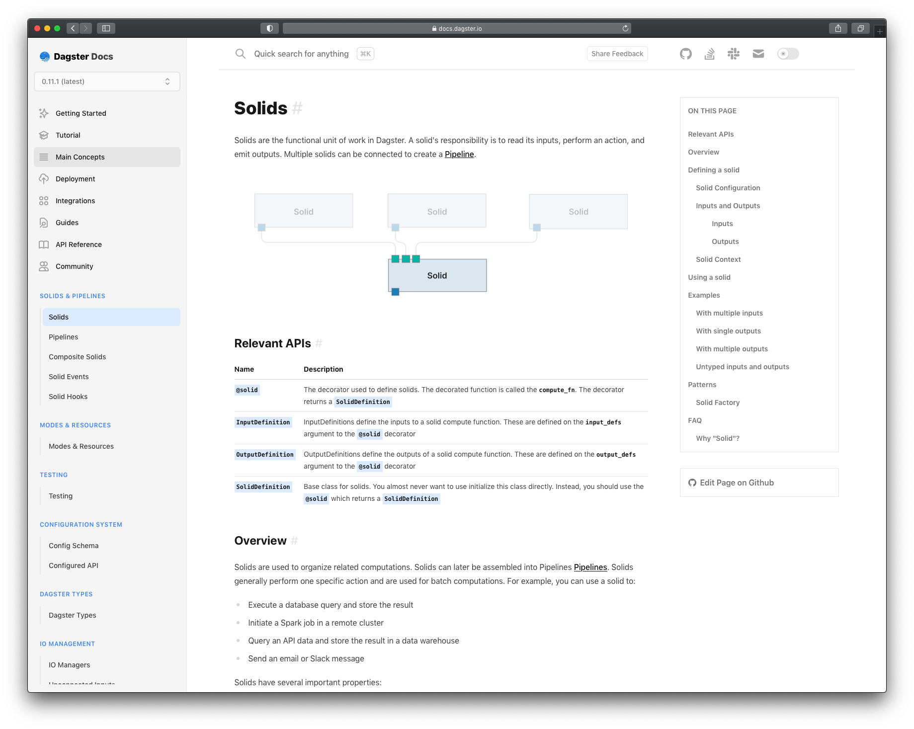 A new concepts page in the Dagster documentation
