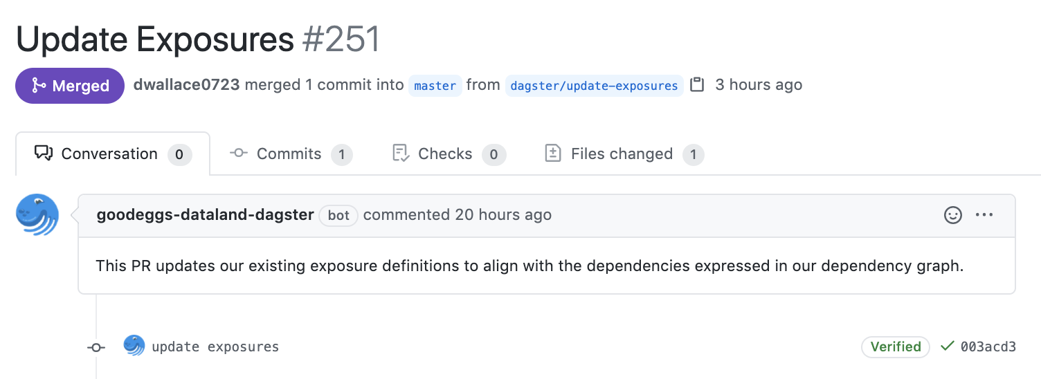 Example pull request to maintain dbt exposures.